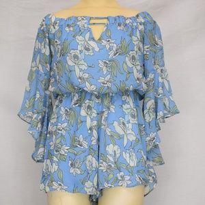 Lulus   Blue Floral Short Romper M